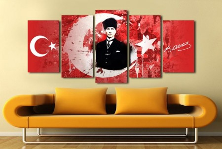 - 5 Parça Ay Yıldız Temalı Mustafa Kemal Atatürk Tablo