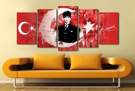 Tesbihane - 5 Parça Ay Yıldız Temalı Mustafa Kemal Atatürk Tablo