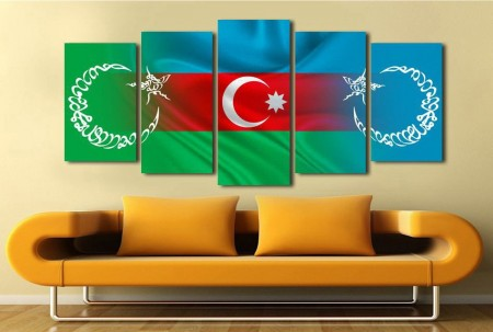 Tesbihane - 5 Parça Azerbaycan Temalı Kanvas Tablo