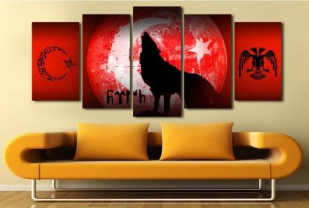 Tesbihane - 5 Parça Bozkurt Temalı Ay Yıldız Kanvas Tablo
