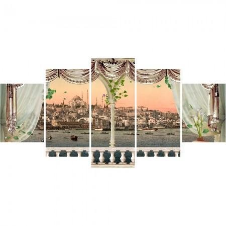 Tesbihane - 5 Parça Cami ve Şehir Manzaralı Kanvas Tablo