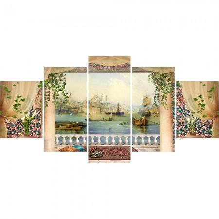 - 5 Parça Cami ve Şehir Manzaralı Kanvas Tablo (Model-2)