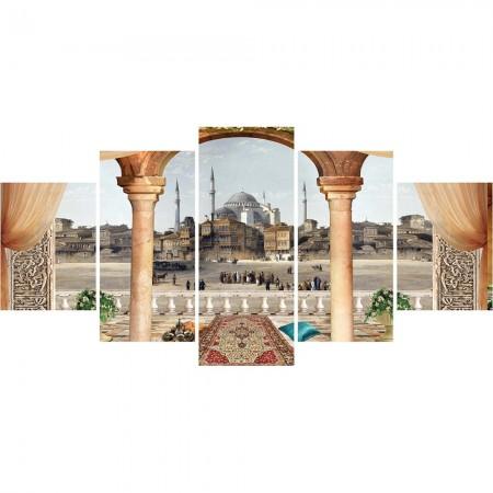 Tesbihane - 5 Parça Cami ve Şehir Manzaralı Kanvas Tablo (Model-3)