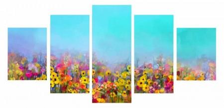 - 5 Parça Çiçek Temalı Kanvas Tablo