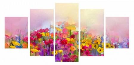 Tesbihane - 5 Parça Çiçek Temalı Kanvas Tablo (Model-2)