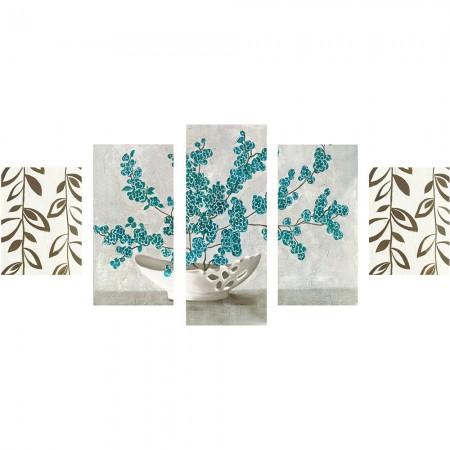 - 5 Parça Çiçek Vazo Temalı Kanvas Tablo