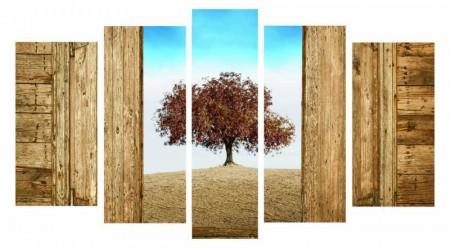 - 5 Parça Çınar Ağacı Manzaralı Kanvas Tablo