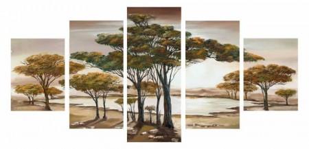 Tesbihane - 5 Parça Doğa Manzaralı Kanvas Tablo
