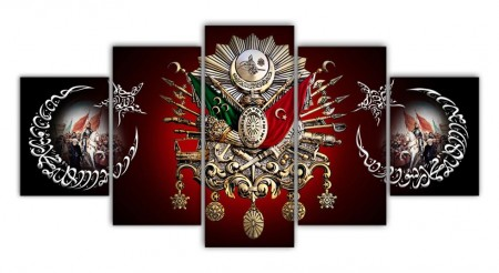 Tesbihane - 5 Parça Fatih Sultan Mehmed Han Resimli Osmanlı Armalı Kanvas Tablo