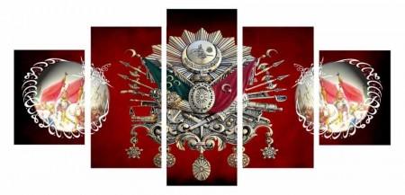 Tesbihane - 5 Parça Fetih Temalı Osmanlı Arma Kanvas Tablo