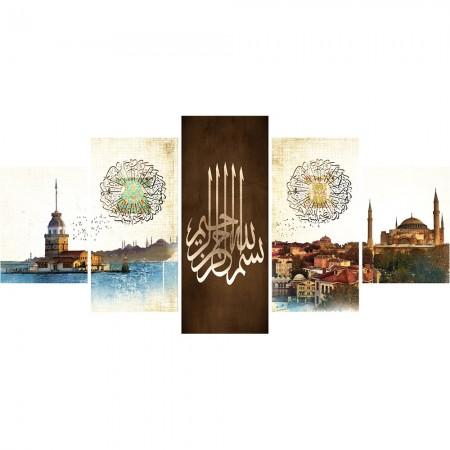 Tesbihane - 5 Parça İstanbul Temalı Kanvas Tablo