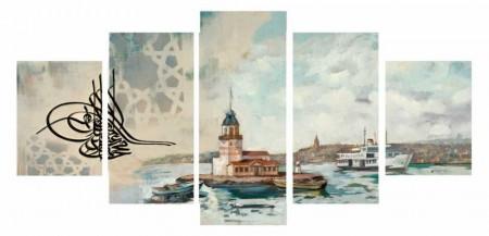Tesbihane - 5 Parça Kız Kulesi Manzaralı Kanvas Tablo