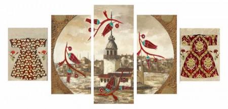 Tesbihane - 5 Parça Lale Tasarım Kız Kulesi Kanvas Tablo