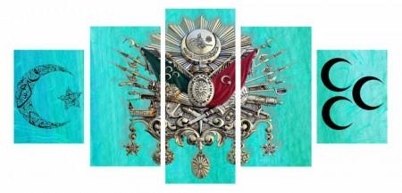 Tesbihane - 5 Parça Okyanus Rengi Üç Hilal Osmanlı Arma Kanvas Tablo
