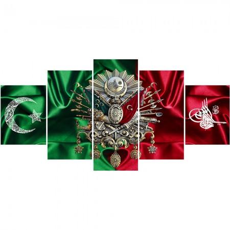 - 5 Parça Osmanlı Arma ve Tuğra Temalı Kanvas Tablo