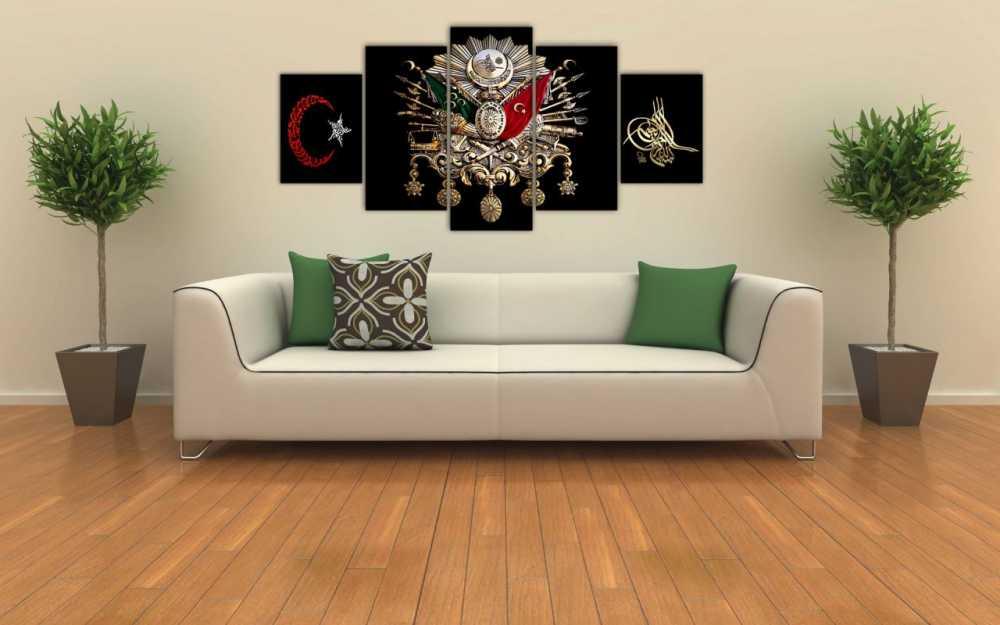5 Parça Osmanlı Devlet Armalı Ayyıldızlı Tuğralı Kanvas Tablo