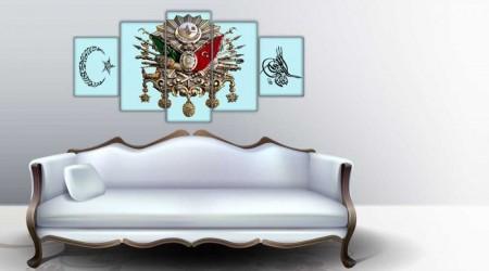 - 5 Parça Osmanlı Devlet Armalı Ayyıldızlı Tuğralı Kanvas Tablo(Model-2)