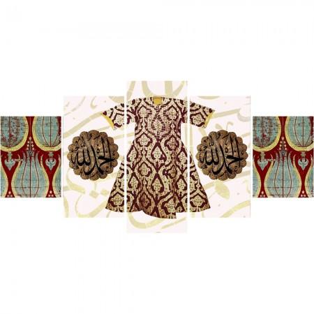 - 5 Parça Osmanlı Kaftan Temalı Kanvas Tablo (Model-4)