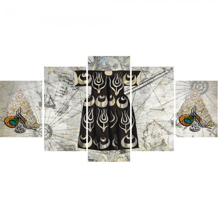 Tesbihane - 5 Parça Osmanlı Kaftan ve Tuğra Temalı Kanvas Tablo