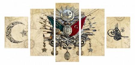 Tesbihane - 5 Parça Osmanlı Tasarım Kanvas Tablo