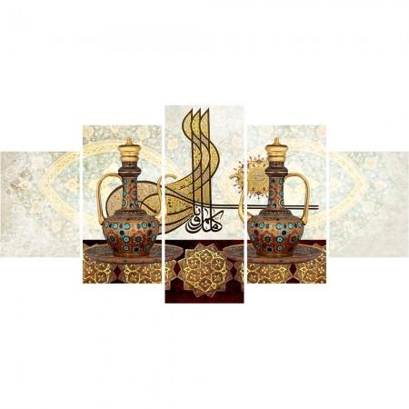 Tesbihane - 5 Parça Osmanlı Tuğra Temalı Kanvas Tablo (Model-5)