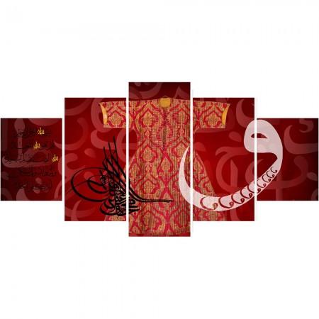 Tesbihane - 5 Parça Osmanlı Tuğra ve Kaftan Temalı Kanvas Tablo (Model-4)