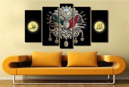 - 5 Parça Siyah Zemin Osmanlı Tasarım Kanvas Tablo