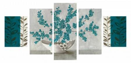 - 5 Parça Turkuaz Çiçek Tasarım Kanvas Tablo