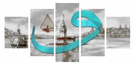 Tesbihane - 5 Parça Vav Tasarım Kız Kulesi Kanvas Tablo