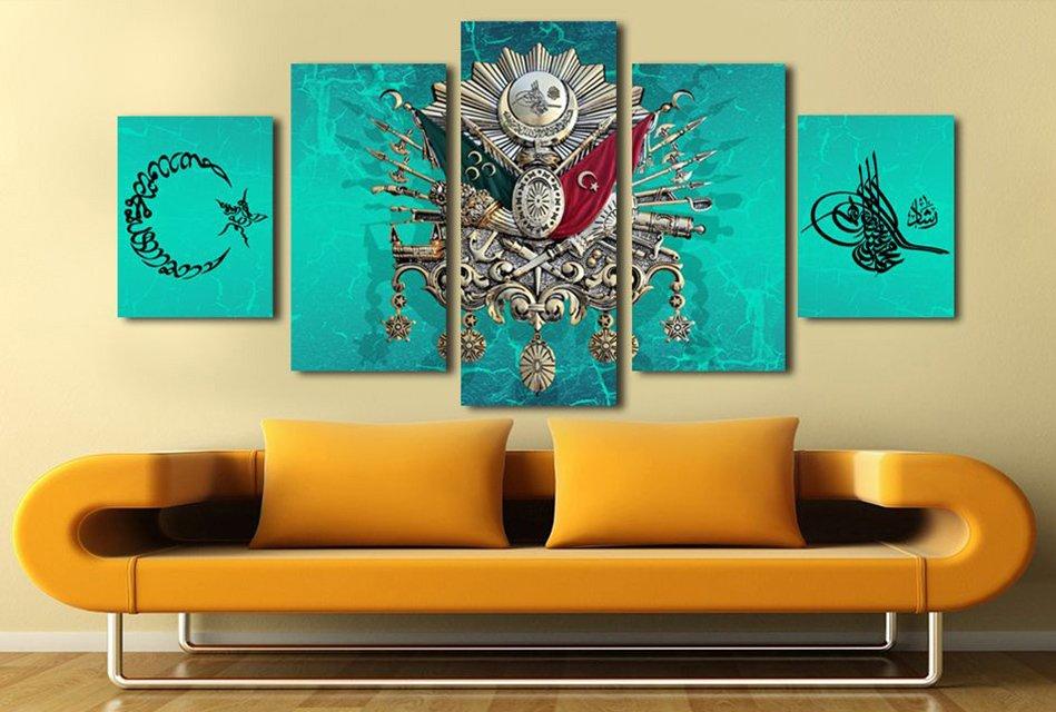 5 Parçalı Okyanus Rengi Üzeri Osmanlı Tasarım Kanvas Tablo