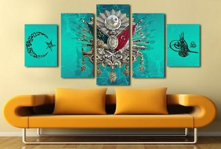 Tesbihane - 5 Parçalı Okyanus Rengi Üzeri Osmanlı Tasarım Kanvas Tablo
