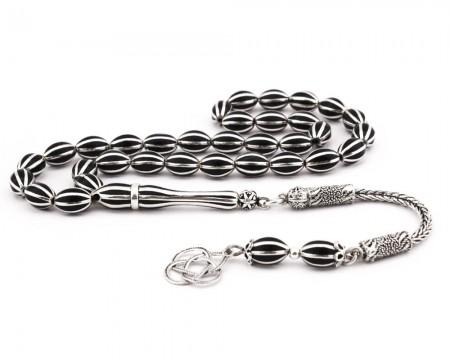 Tesbihane - 8li Karpuz Yarma Arpa Kesim Mineli Gümüş Tesbih