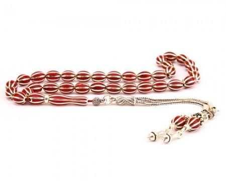 - 8li Yarma Kırmızı Mineli 925 Ayar Gümüş Tesbih (Model-2)