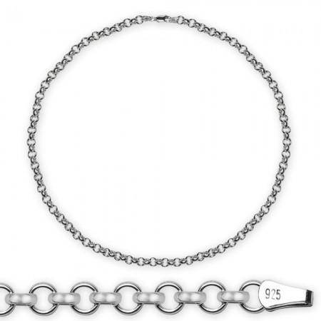 Tesbihane - 925 Ayar 50 Cm 130 Mikron Doç Gümüş Erkek Zincir Kolye