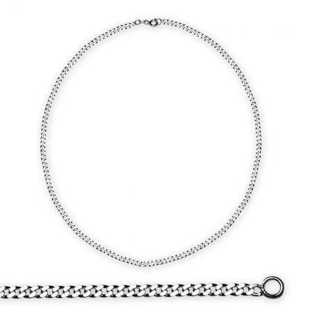 Tesbihane - 925 Ayar Gümüş 50 cm 60 Mikron Gurmet Gümüş Erkek Zincir Kolye
