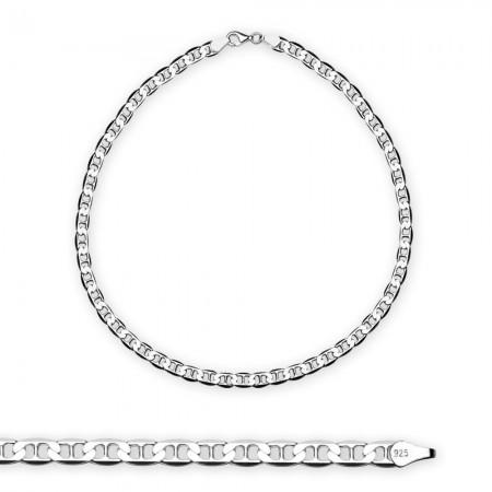 Tesbihane - 925 Ayar 50 cm 80 Mikron Barlı Gümüş Erkek Zincir Kolye