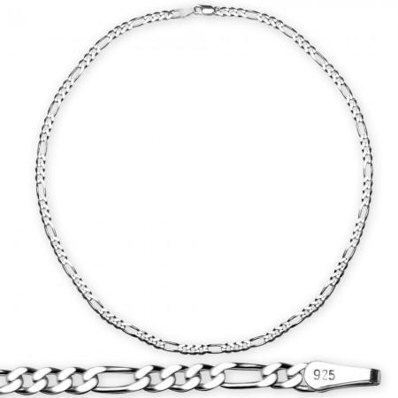Tesbihane - 925 Ayar Gümüş 50 cm 120 Mikron Figaro Gümüş Erkek Zincir Kolye
