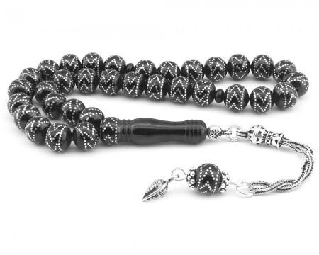 Tesbihane - 925 Ayar Gümüş Püsküllü Zigzag işlemeli 120 Çakmalı Erzurum Oltu Taşı Tesbih