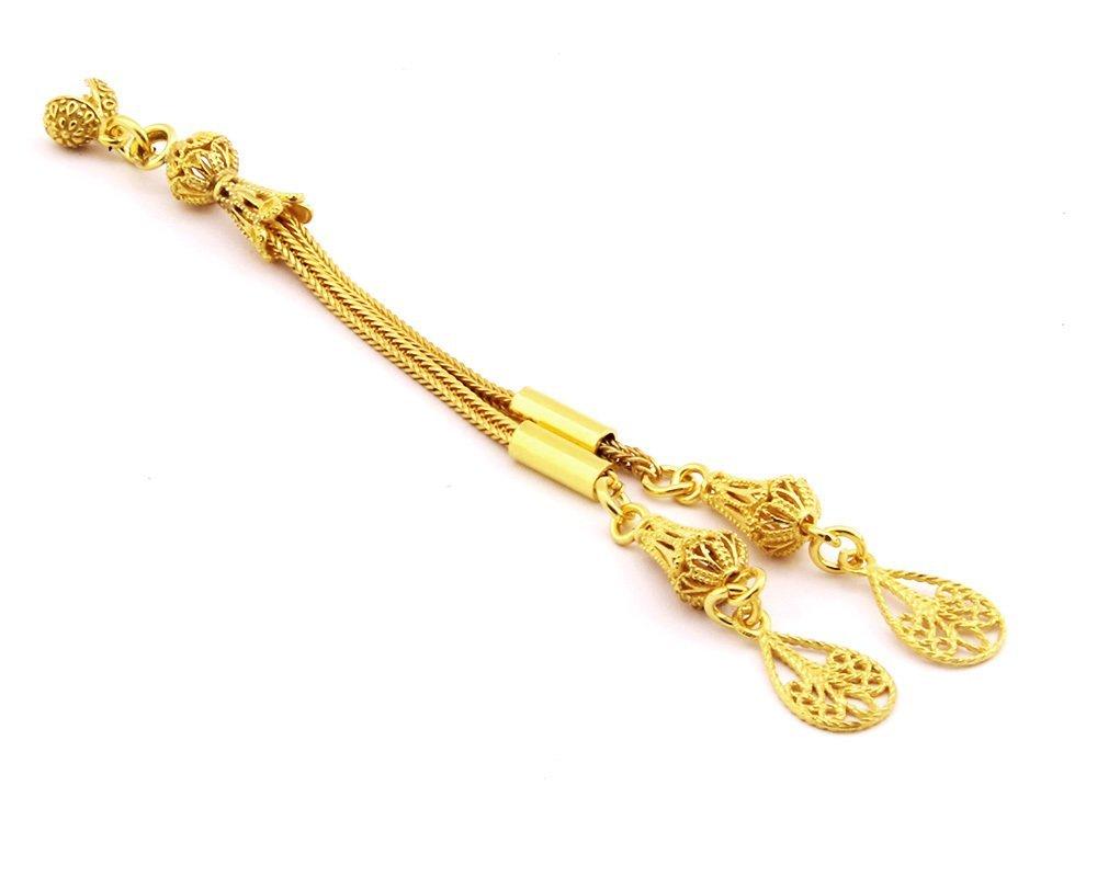 Damla Motifli Telkari Model Gold Renk 2'li 925 Ayar Gümüş Püskül