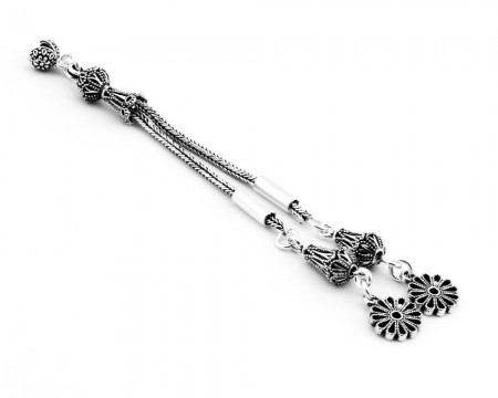 Tesbihane - 925 Ayar Gümüş 2li Telkari Model Çiçek Püskül