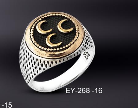 Tesbihane - 925 Ayar Gümüş 3 Hilal İşlemeli Oval Model Yüzük