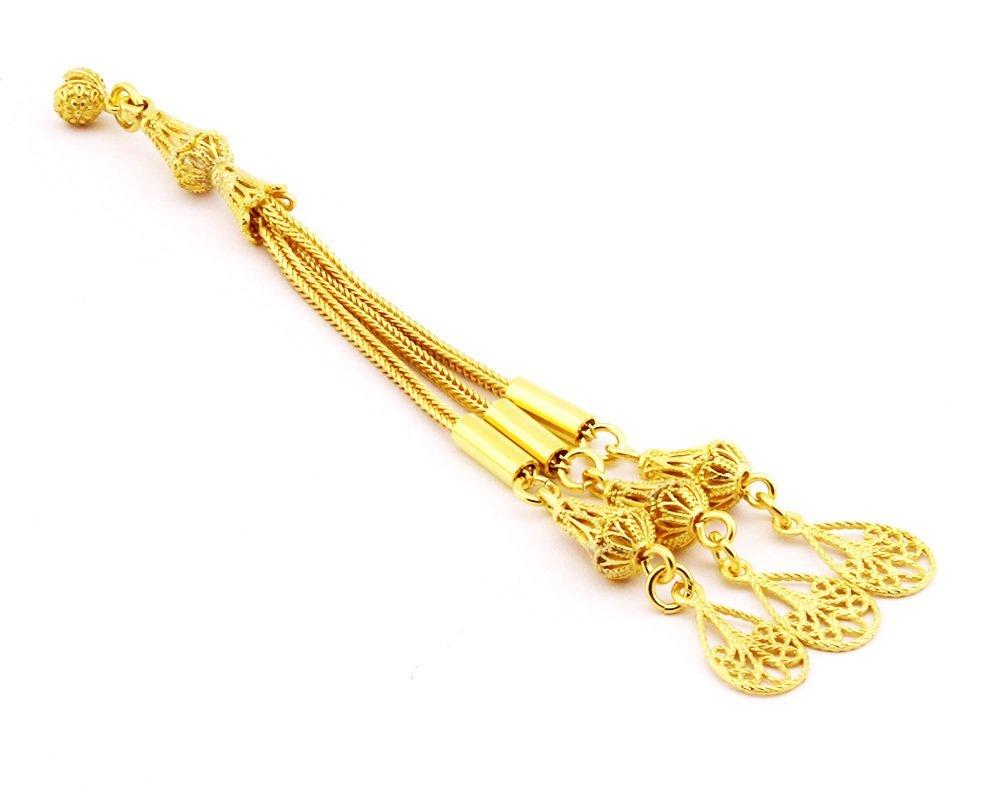 925 Ayar Gümüş 3lü Telkari Model Altın Rengi Kaplama Damla Püskül