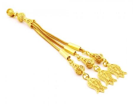 Tesbihane - Lale Motifli Telkari Model Gold Renk 3'lü 925 Ayar Gümüş Püskül