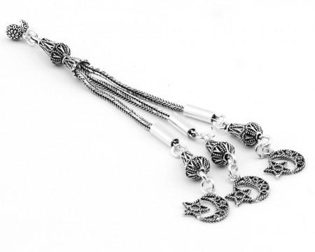 Tesbihane - Ayyıldız Motifli Telkari Model 3'lü 925 Ayar Gümüş Püskül