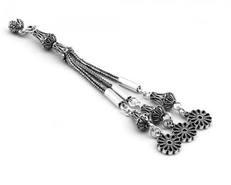 Tesbihane - 925 Ayar Gümüş 3lü Telkari Model Çiçek Püskül