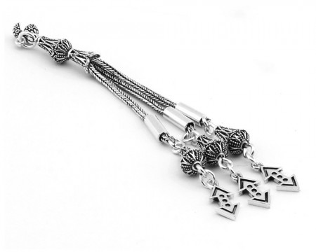 Tesbihane - 925 Ayar Gümüş 3lüTelkari Model Çukur Püskül