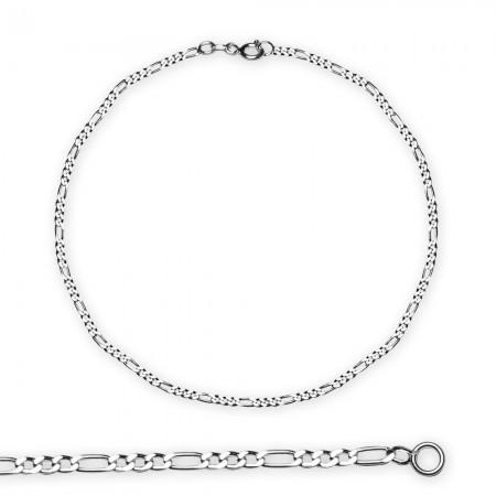 Tesbihane - 925 Ayar Gümüş 45 cm 80 Mikron Figaro Erkek Zincir Kolye