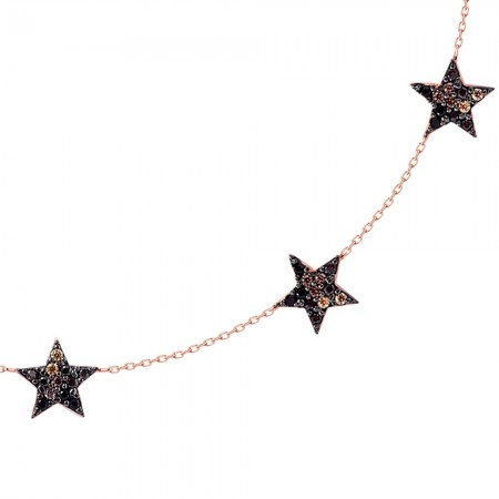 Tesbihane - 925 Ayar Gümüş 5 Yıldız Kolye