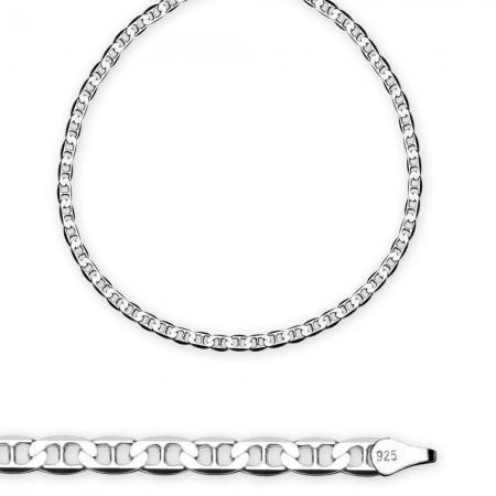 Tesbihane - 925 Ayar Gümüş 50 cm 100 mikron barlı Erkek Zincir Kolye