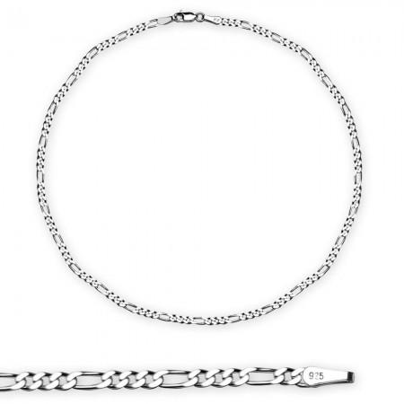 Tesbihane - 925 Ayar Gümüş 50 cm 100 Mikron Figaro Erkek Zincir Kolye